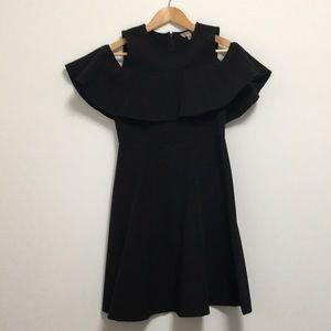 Nanette Lepore black cold shoulder dress w/ruffle
